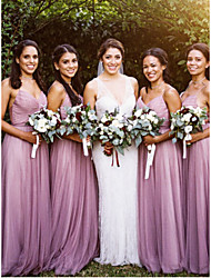 cheap -A-Line Spaghetti Strap Floor Length Tulle Bridesmaid Dress with Ruching