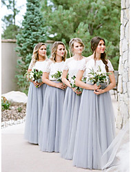 cheap -A-Line Jewel Neck Floor Length Lace / Tulle Bridesmaid Dress with Lace