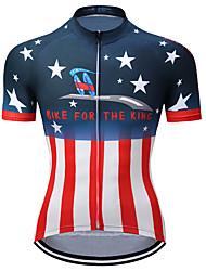 Недорогие -21Grams Американский / США Флаги Жен. С короткими рукавами Велокофты - Красный / Белый Велоспорт Верхняя часть Устойчивость к УФ Дышащий Влагоотводящие Виды спорта Терилен / Слабоэластичная