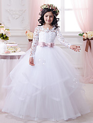 cheap -Ball Gown Sweep / Brush Train Flower Girl Dress - Cotton / Lace / Tulle Long Sleeve Scalloped Neckline with Appliques / Tier / Solid