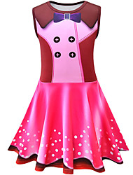 cheap -Kids Girls' Basic Cute Polka Dot Color Block Sleeveless Knee-length Dress Blushing Pink