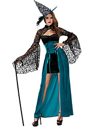 cheap -Witch Dress Cosplay Costume Adults' Women's Dresses Halloween Christmas Halloween Carnival Festival / Holiday Lace Plush Fabric Black Carnival Costumes Holiday Lace Halloween