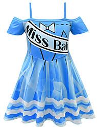 cheap -Kids Girls' Basic Cute Striped Number Patchwork Sleeveless Above Knee Dress Blue