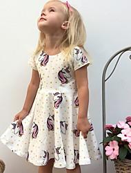 cheap -Baby Girls' Active Geometric Print Half Sleeve Knee-length Dress White