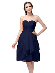 cheap -A-Line Minimalist Elegant Homecoming Cocktail Party Dress Sweetheart Neckline Sleeveless Knee Length Chiffon with Ruched 2021