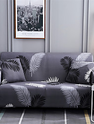 cheap -Home Luxury Leaves Print Dustproof Stretch Slipcovers Stretch Sofa Cover Super Soft Fabric Couch Cover (You will Get 1 Throw Pillow Case as free Gift)
