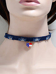 cheap -Women's Choker Necklace Braided American flag Heart Flag Patriotic Jewelry European Trendy Fashion Modern Fabric Chrome Blue 30+5 cm Necklace Jewelry 1pc For Daily Street Festival