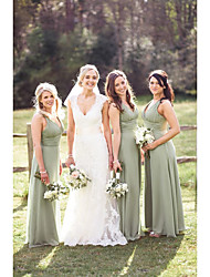 cheap -A-Line Plunging Neck Floor Length Chiffon Bridesmaid Dress with Ruching