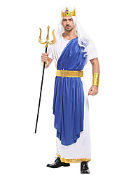 cheap -Sea King Poseidon Cosplay Costume Masquerade Adults' Men's Cosplay Halloween Christmas Halloween Carnival Festival / Holiday Fabric Blue Carnival Costumes Patchwork