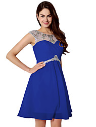 cheap -A-Line Jewel Neck Short / Mini Chiffon Elegant Formal Evening Dress 2020 with Beading / Ruched