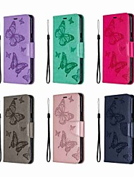cheap -Case For LG LG Stylo 5 Wallet / Shockproof / with Stand Full Body Cases Butterfly / Solid Colored Hard PU Leather
