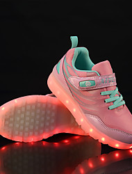 cheap -Boys / Girls USB Charging  LED / LED Shoes Flyknit Sneakers Walking Shoes LED Green / Blue / Pink Summer / Fall / Color Block / Rubber