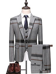 cheap -Men's Plus Size Suits, Striped / Color Block Shirt Collar Polyester Blue / Gray / Slim