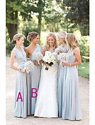 cheap -A-Line One Shoulder / Plunging Neck Floor Length Chiffon Bridesmaid Dress with Ruching