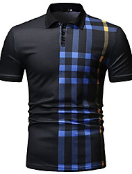 cheap -Men's Striped Polo Daily Wear Shirt Collar White / Black / Navy Blue / Short Sleeve