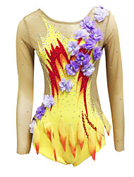 cheap -Rhythmic Gymnastics Leotards Artistic Gymnastics Leotards Women's Girls' Leotard Yellow High Elasticity Handmade Print Jeweled Sleeveless Competition Ice Skating Rhythmic Gymnastics Figure Skating