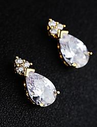 cheap -Women's Silver Cubic Zirconia Hoop Earrings Drop S925 Sterling Silver Earrings Jewelry Gold / Silver For Wedding Anniversary 1 Pair