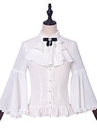 cheap -Formal Modern Style Elegant Blouse / Shirt Girls' Female Chiffon Japanese Cosplay Costumes White Solid Color Black & White Lace Flare Sleeve Long Sleeve Medium Length