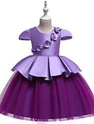 cheap -Ball Gown / Princess Knee Length Flower Girl Dress - Tulle / Poly&Cotton Blend Short Sleeve Jewel Neck with Appliques / Ruffles / Formal Evening