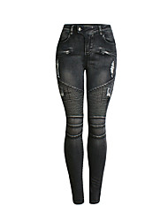 cheap -Women's Basic / Street chic Skinny Jogger Pants - Solid Colored Blue, Hole High Waist Cotton Black XL XXL XXXL