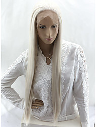 cheap -Straight Natural Straight Asymmetrical Lace Front Wig Very Long Platinum Blonde Synthetic Hair 24 inch Women's Party Synthetic Sexy Lady White