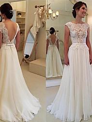 cheap -A-Line Jewel Neck Sweep / Brush Train Chiffon / Lace Elegant Black Tie Gala Dress 2020 with Appliques