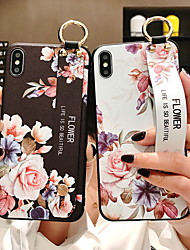 cheap -Case For Apple iPhone XS / iPhone XR / iPhone XS Max with Stand / Pattern Back Cover Flower Soft Silicone