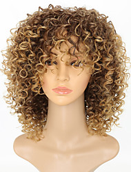 cheap -Synthetic Wig Afro Afro Curly With Bangs Wig Short Strawberry Blonde Synthetic Hair 15 inch Women's Women Color Gradient African American Wig Light Brown / For Black Women