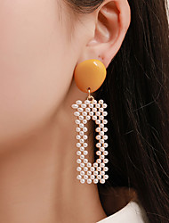 cheap -Women's Drop Earrings Hollow Out Geometrical Punk Korean Fashion Imitation Pearl Gold Plated Earrings Jewelry Yellow / Green / Pink For Prom Street Club Bar 1 Pair