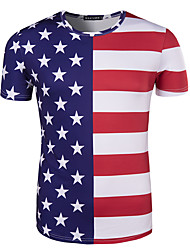 cheap -Adults' Men's Cosplay American Flag Cosplay Costume T-shirt For Halloween Daily Wear Cotton Independence Day T-shirt