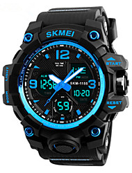 cheap -SKMEI Men's Dress Watch Quartz Rubber Black 50 m Water Resistant / Waterproof Calendar / date / day Chronograph Analog - Digital Outdoor Fashion - Yellow Red Blue One Year Battery Life