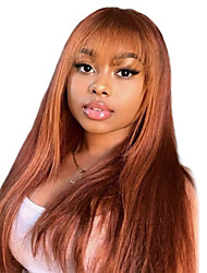cheap -Human Hair Wig Long Straight Natural Straight Bob Asymmetrical Neat Bang With Bangs Brown Fashionable Design Adjustable Comfortable Capless Women's All Medium Auburn Beige Blonde / Bleached Blonde 24