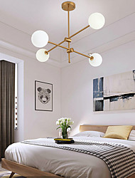 cheap -4 Heads 80cm LED Chandelier Pendant Light Nordic Gold Sputnik Artistic Modern Living Dining Room Bedroom Metal Painted Finishes 110-120V 220-240V