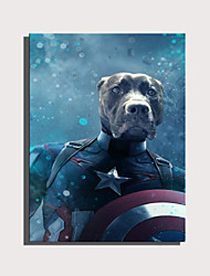 cheap -E-HOME Stretched Canvas Art Cute Animal Series - Hero Captain Dog  Decoration Painting  One Pcs