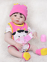 cheap -FeelWind 22 inch Reborn Doll Baby Girl Gift Cute Kids / Teen Full Body Silicone with Clothes and Accessories for Girls' Birthday and Festival Gifts