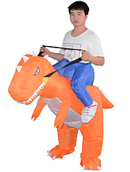 cheap -Riding A Dinosaur T-Rex Cosplay Costume Inflatable Costume Adults' Men's Animal Design Halloween Halloween Festival / Holiday Polyster Orange Men's Women's Carnival Costumes Color Block / Air Blower