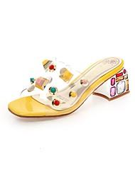 cheap -Women's Sandals Heterotypic Heel Open Toe Sparkling Glitter PU(Polyurethane) Classic Summer Yellow / Almond