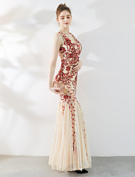 cheap -Mermaid / Trumpet Plunging Neck Floor Length Tulle / Sequined Elegant & Luxurious / Elegant Formal Evening Dress with Sequin 2020