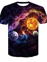 cheap -Men's Plus Size Color Block T-shirt Daily Wear Round Neck Blue / Short Sleeve