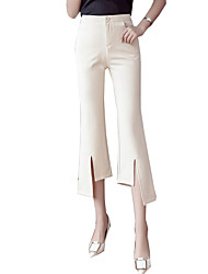cheap -Women's Basic Chinos Pants - Solid Colored Black / White, Classic High Waist Black Apricot S M L