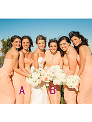 cheap -A-Line Sweetheart Neckline / Straps Floor Length Chiffon Bridesmaid Dress with Ruching