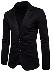 cheap -Men's EU / US Size Blazer, Solid Colored Shirt Collar Cotton Black / Dark Gray / Light gray