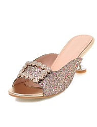 cheap -Women's Sandals Glitter Crystal Sequined Jeweled Kitten Heel Open Toe Rhinestone PU Classic Summer Pink / Gold / Silver / Party & Evening / Party & Evening