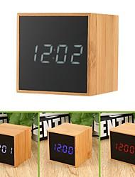 Недорогие -деревянный стол будильник usb&усилитель; настольные часы с голосовым управлением с батарейным питанием с большими светодиодными индикаторами температуры