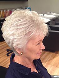 cheap -Human Hair Wig Short Wavy Natural Wave Bob Pixie Cut Layered Haircut Asymmetrical Blonde Life Easy dressing Comfortable Capless Women's All Palest Blonde 8 inch / Natural Hairline / Natural Hairline