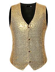 cheap -Men's V Neck Vest Polka Dot Black / Red / Gold M / L / XL