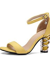 cheap -Women's Satin Spring & Summer Classic Sandals Chunky Heel Open Toe Black / Yellow