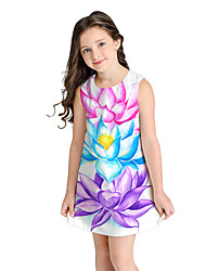 cheap -Kids Girls' Sweet Cute Floral Color Block Short Sleeve Above Knee Dress White / Cotton