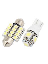 abordables -12pcs led kit de lampe de carte de dôme intérieur blanc pour nissan pathfinder 2005-2011 (7xt10-5-50505x31mm-12-3528)