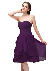 cheap -A-Line Sweetheart Neckline Short / Mini Chiffon Bridesmaid Dress with Ruching